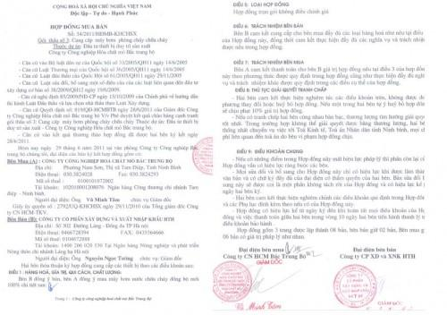 Hợp đồng ký kết với Mỏ hóa chất Bắc Trung Bộ